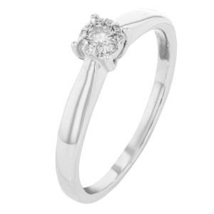 18k White Gold Diamonds 0.12 Cttw Engagement Ladies Ring Bliss by Damiani