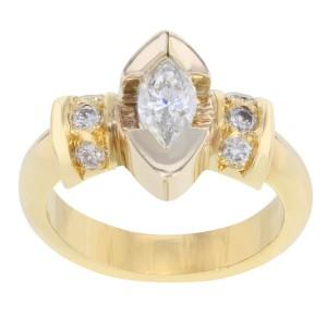 Rachel Koen 18K Gold Marquise Cut Diamond Engagement Womens Ring 1.06Cttw Size 7