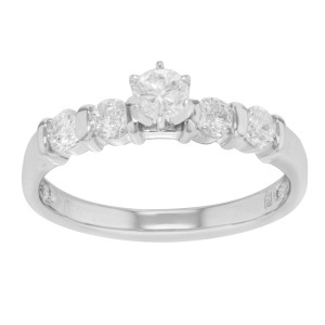 14K White Gold Diamond Accented Ladies Engagement Ring 0.66 Cttw Size 7