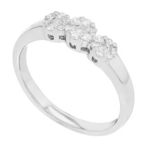 Rachel Koen 14k White Gold  0.37Cttw Theree Diamonds Womens Ring Size 7