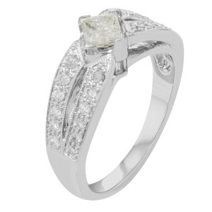 14K White Gold Princess Cut Diamond Accented Ladies Engagement Ring 1.25 Cttw
