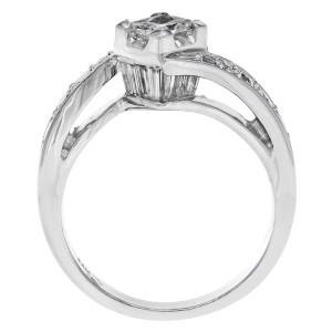 14K White Gold Princess Cut Diamond Accented Ladies  Engagement Ring 1.35 Cttw