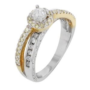 14K White Yellow Gold Diamond Accented Womens Engagement Ring 0.60 Cttw