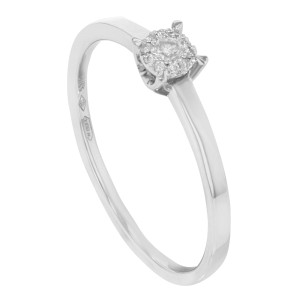 18k White Gold Diamonds Engagement Ring Bliss by Damiani Illusion  0.08 Cttw