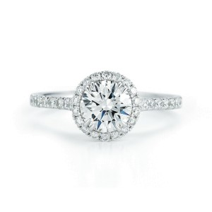 Round Cut Halo Set Diamond Engagement Ring in Platinum 1.28cts