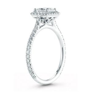 Princess Cut Halo Diamond Engagement Ladies Ring in Platinum 1.74cts