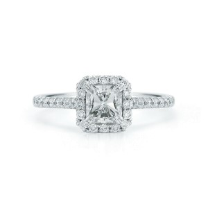 Radiant Cut Halo Diamond Engagement Ring in Platinum 1.41cts