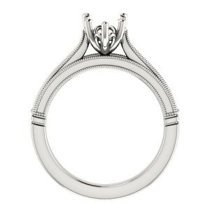 Rachel Koen 14K White Gold Pear Cut Solitaire Engagement Ring Mounting Size 6.5