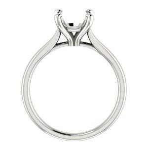 Rachel Koen 14K White Gold Four Prong Engagement Ring Mounting Size 6.5