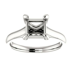 Rachel Koen Princess Cut Prong Solitaire Engagement Ring Mounting 14K Gold 6.5