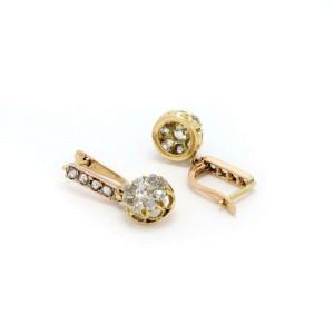 Victorian 1.10ct Old Mine Cut Diamond 14k Yellow Gold Drop Earrings