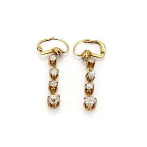 Victorian 1.90ct Old Mine Cut Diamond 18k YGold Graduated Dangle Earrings