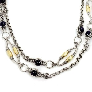 Konstantino Iolite Sterling & 18k Hammered Yellow Gold Fancy Long Necklace