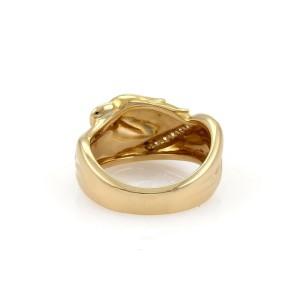 Carrera y Carrera Diamond Ruby 18k Yellow Gold Wide Band Ring Size 6