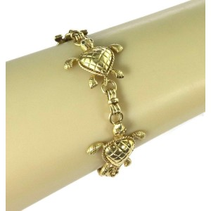 Estate 18k Yellow Gold 4 Turtle Link Bracelet