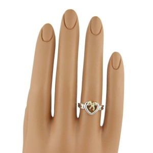 Tiffany & Co. 1991 Sterling 18k Yellow Gold Heart Bow Ring Size - 6