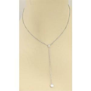 Cartier Love 18k White Gold Screw Motif Lariat Pendant & Chain