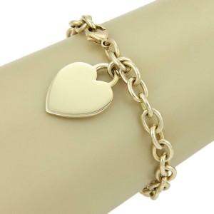 Tiffany & Co. 18k Yellow Gold Heart Charm Chain Bracelet