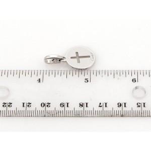 Cartier 18k White Gold Stencil Cross Round Pendant Charm
