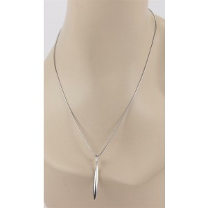 Tiffany & Co. 18k White Gold Feather Pendant & Chain Necklace