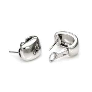 Cartier Nouvelle Vague 18k White Gold Wide Huggie Post Clip Earrings