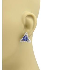 Estate 8.00ct Tanzanite Diamond 14k White Gold Fancy Triangle Stud Earrings