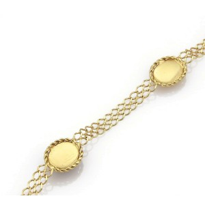 """Vintage Lapis 14k Yellow Gold Oval Cameo Chain Necklace 19"""" Long"""