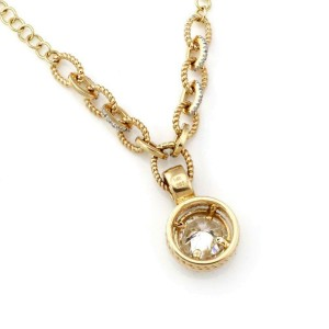 Estate 1.92ct Solitaire Diamond w/Accent 14k Gold Round Pendant & Chain