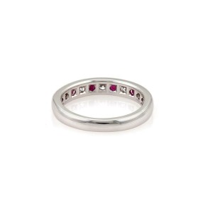 Tiffany & Co. Diamond Ruby Platinum 2mm Channel set Band Ring Size - 4