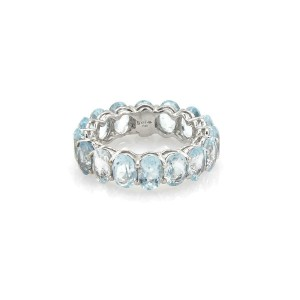 18k White Gold 7.20ct Oval Cut Aquamarine 6mm Full Circle Band Ring Size 5