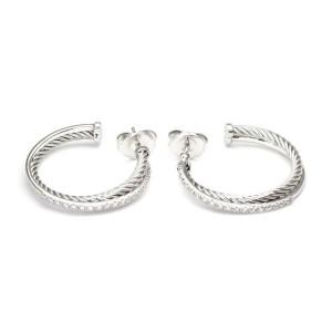 David Yurman Diamond Sterling 14k Yellow Gold Double Band Hoop Earrings