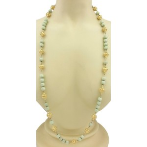 "Vintage Jade 18k Yellow Gold Fancy Open Work Filigree Long Beaded Necklace 38""L"