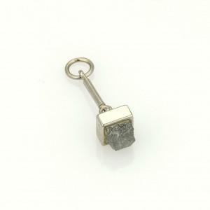 Cartier 1ct Rough Diamond 18k White Gold Square Shape Charm Pendant