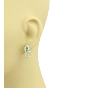 Estate Diamonds & Emerald 14k Yellow Gold Post Clip Earrings