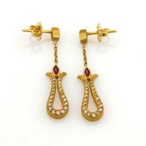 18k Fibula Diamonds & Ruby Long Fancy Loop Drop Dangle Earrings