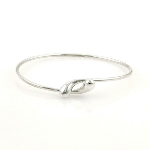 Tiffany & Co. Peretti Sterling Silver Tear Drop Bypass Open Bangle Bracelet