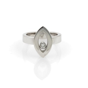 Chopard Happy Diamond 18k White Gold Marquise Shaped Ring Size 5.5 w/Cert