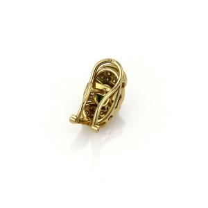 14k Yellow Gold & Jade 1ct Diamond Fancy Oval Shape Post Clip Earrings