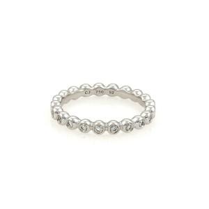Georg Jensen Diamond 18k White Gold Wedding Band Ring Size EU 52-US 6