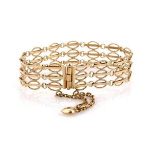 Estate 18k Yellow Gold  3 Rows Fancy Link Heart Charm Bracelet