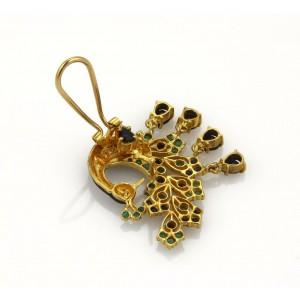 6ct Sapphire & Emerald Enamel 24k Yellow Gold Peacock Post Clip Earrings
