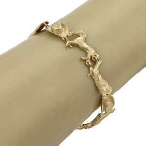 14k Yellow Gold Cowboy Horse Hat & Boot Link Bracelet