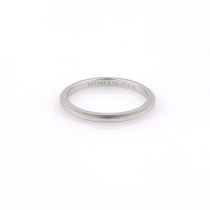 Tiffany & Co. Platinum Double Milgarin 2mm Wide Band Ring Size 8.25