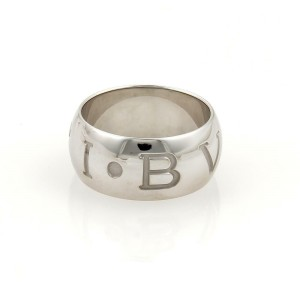 Bulgari Bvlgari MONOLOGO 18k White Gold 10mm Dome Band Ring Size 59-US 8.5