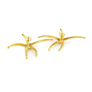 Tiffany Co. Elsa Peretti Starfish Yellow Gold Large Studded Nautical Earrings