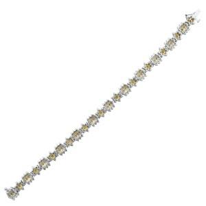 Rachel Koen 14K Yellow Gold Rhodium Plated Diamond Floral Design Bracelet 6.00ct