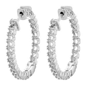 Rachel Koen 24x24mm Diamonds 14K White Gold And Out Cast Hoop Ladies Earring
