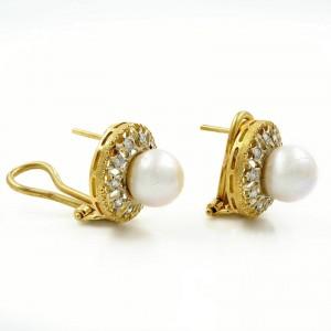 Saya 18k Yellow & White Gold 0.4 Cttw Diamonds & Pearl Huggie Ladies Earrings