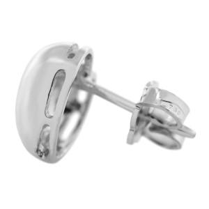 Rachel Koen 18K White Gold Diamond BO Ladies Earrings 0.05 Cttw BO336-27