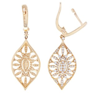 Rachel Koen Rose Gold Marquise Drop Diamond Earrings 14K Rose Gold 1.09cttw